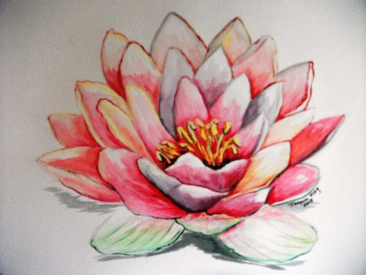 Colored Water And Lotus Flower Tattoo On Side Rib