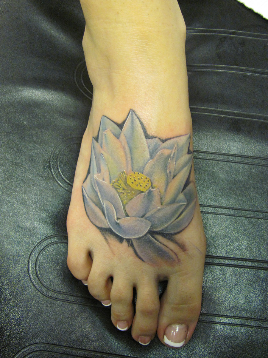 White Ink Lotus Flower Tattoo On Right Foot