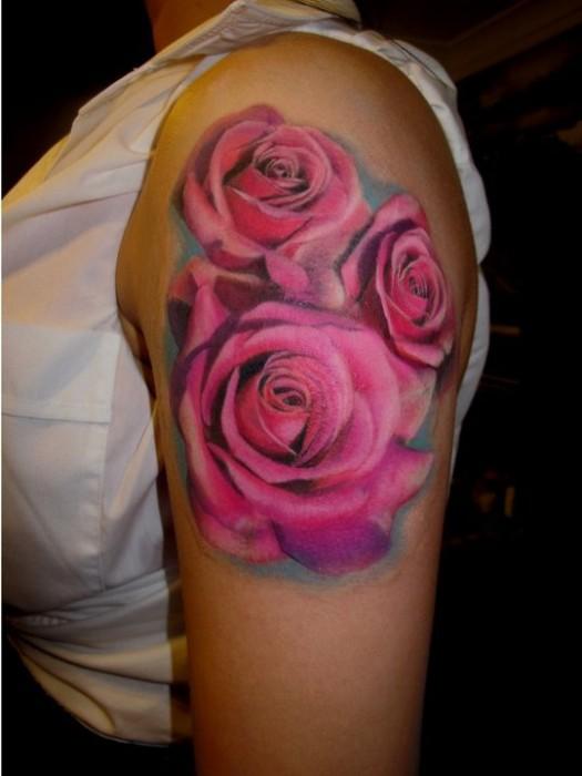 3D Pink Rose Tattoos On Left Shoulder