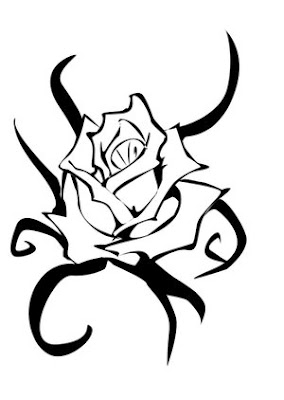 Amazing Black Tribal And Rose Tattoo Design