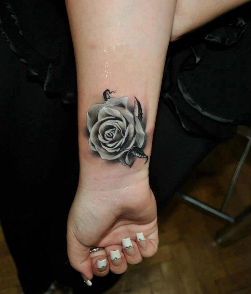 Black and white rose hand tattoohelenasaurus for Black and gray rose tattoos