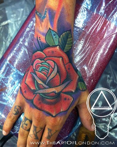 Amazing Red Rose Tattoo On Right Hand