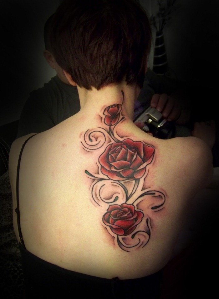 Amazing Red Rose Tattoos On Girl Back