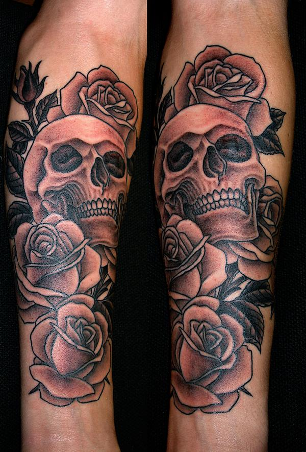 awesome grey skull and rose tattoos. Black Bedroom Furniture Sets. Home Design Ideas