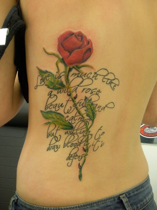 Awesome Red Rose Tattoo On Girl Back