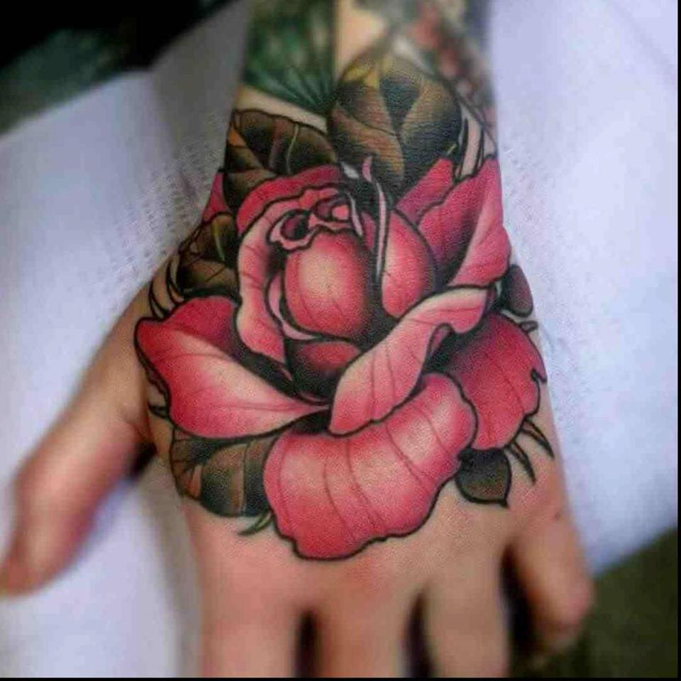 Awesome Red Rose Tattoo On Left Hand