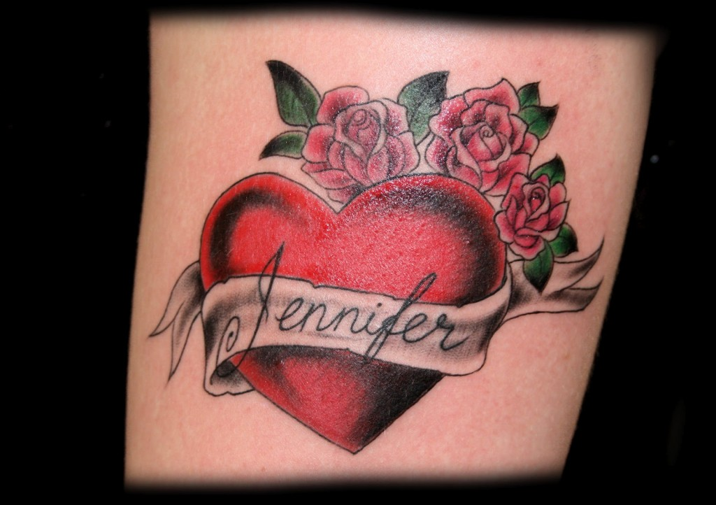 Heart With Rose And Banner: Rose Tattoos : Page 15