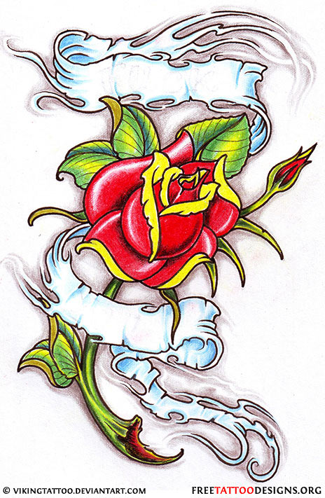 Rose With Banner Tattoos: Beautiful Banner And Rose Tattoo Design