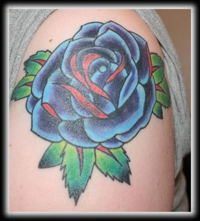 6fc97ff25791d Beautiful Blue Rose Tattoo On Left Shoulder