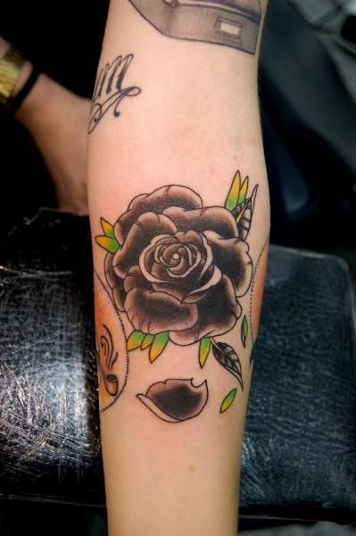 Wonderful Black Rose Tattoo On Left Forearm,Sheet Metal Homemade Charcoal Grill Design