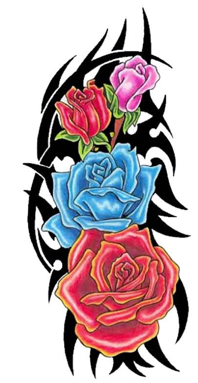 Black Tribal And Colored Rose Flowers Tattoos Design