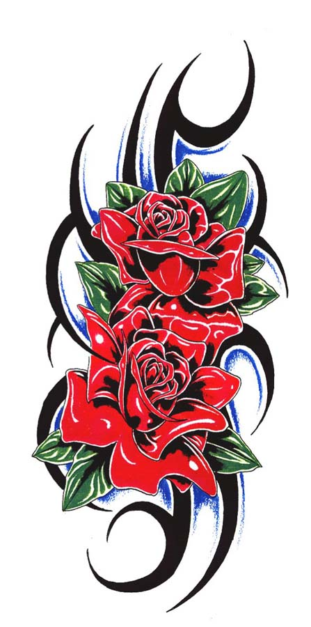 Black Tribal And Rose Tattoos Design