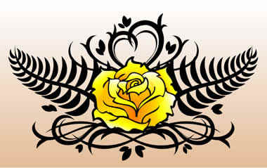 d5114a6d9 Black Tribal And Yellow Rose Flower Tattoo Design For Lowerback