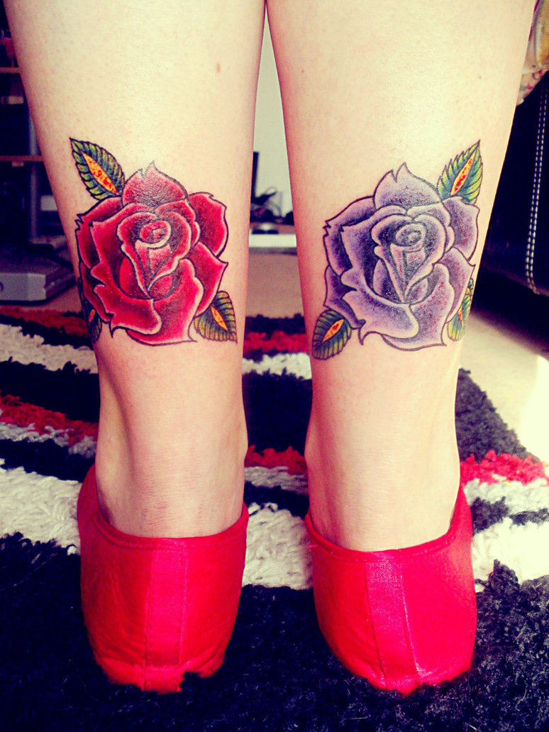Blue Rose and Red Rose Tattoos On Back Legs