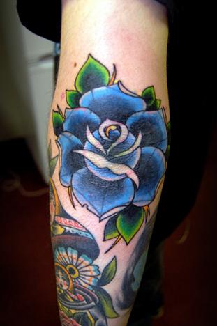 blue rose flower rose tattoo on arm. Black Bedroom Furniture Sets. Home Design Ideas