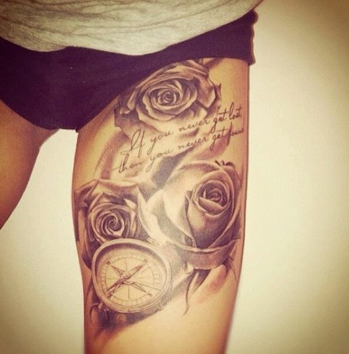 Compass And Rose Flowers Tattoo On Left Thigh Owl Sleeve Tattoos For Girls