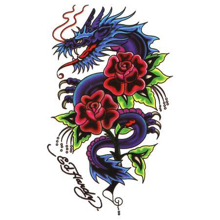 dragon and red rose tattoos design. Black Bedroom Furniture Sets. Home Design Ideas