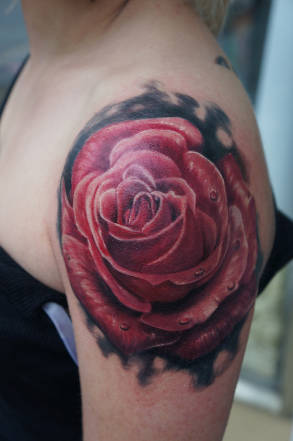 Blue Rose Tattoo On Girl Right Shoulder