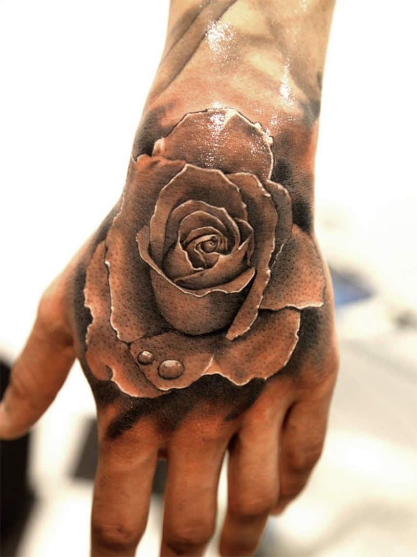 Grey Ink 3d Rose Tattoo On Left Hand