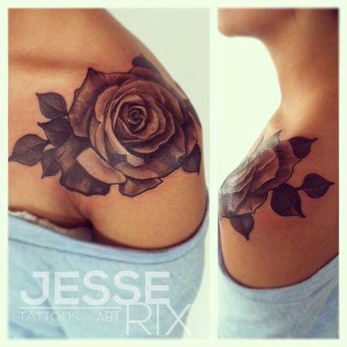 Rose Outline Shoulder Tattoo