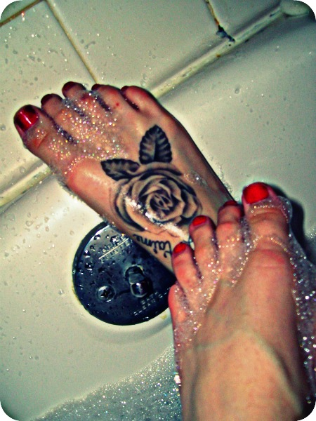 Grey rose tattoo on right foot mightylinksfo