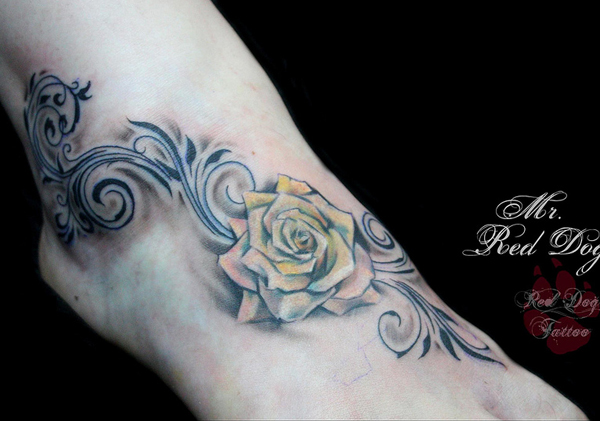 Grey Tribal And Yellow Rose Tattoo