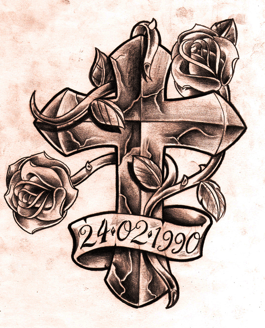 memorial banner and cross with rose tattoo design