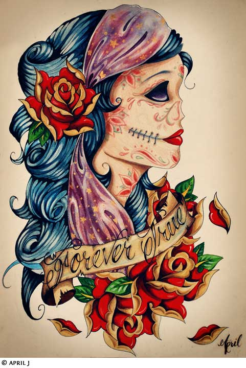 Old School Gypsy And Rose Tattoos Design