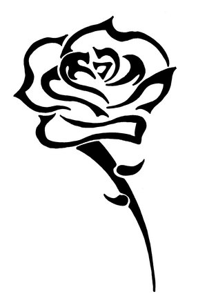 Outline Cross And Rose Tattoo Design