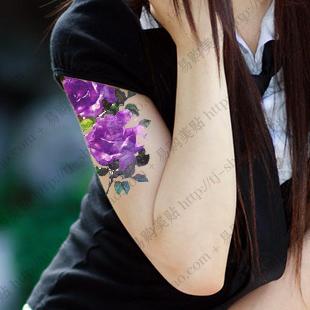 Purple Rose Tattoo On Left Forearm