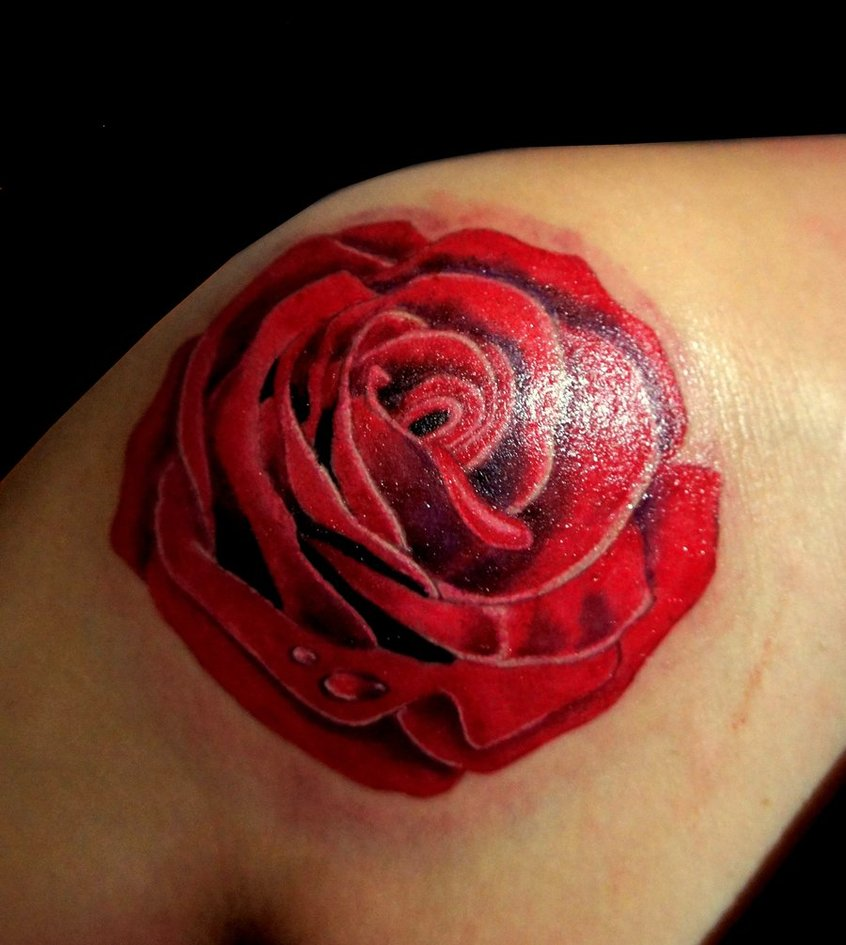 Realistic heart and rose tattoo