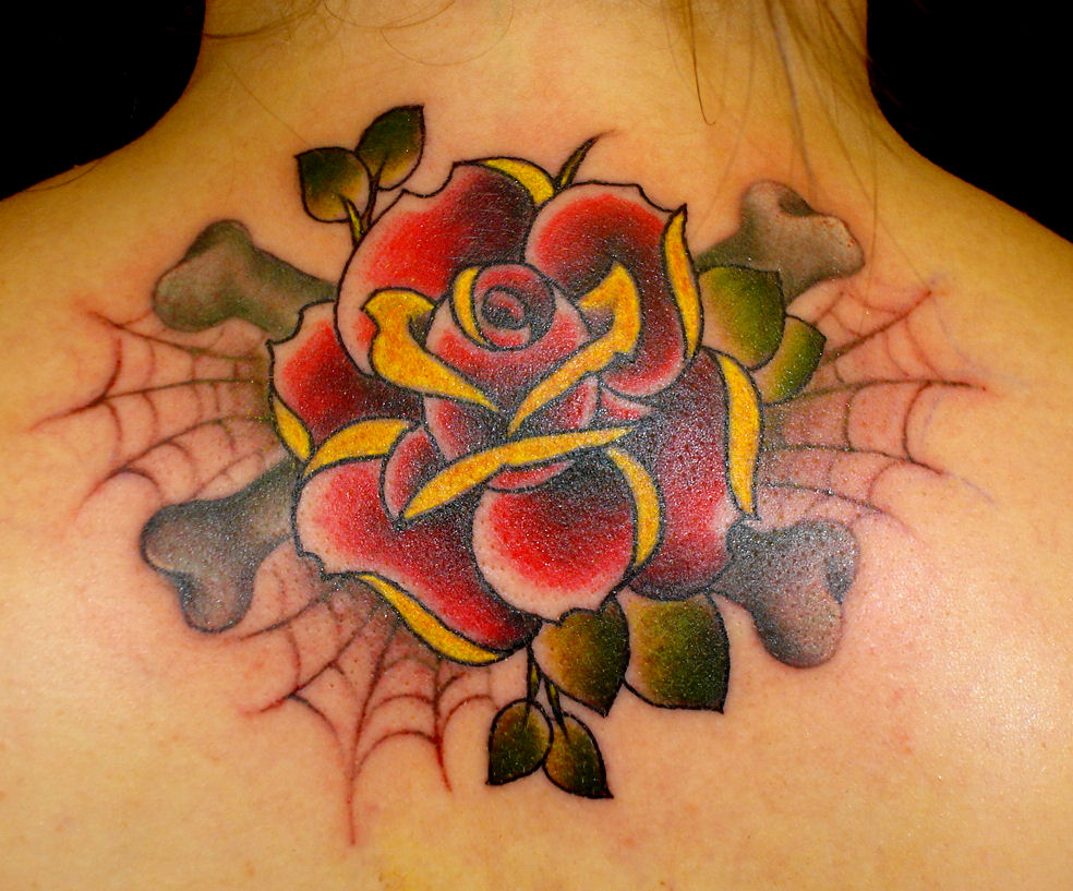 Rose Tattoo Images & Designs American Traditional Yellow Rose Tattoo
