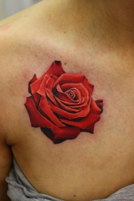 Red Rose Tattoo On Girl Right Collarbone