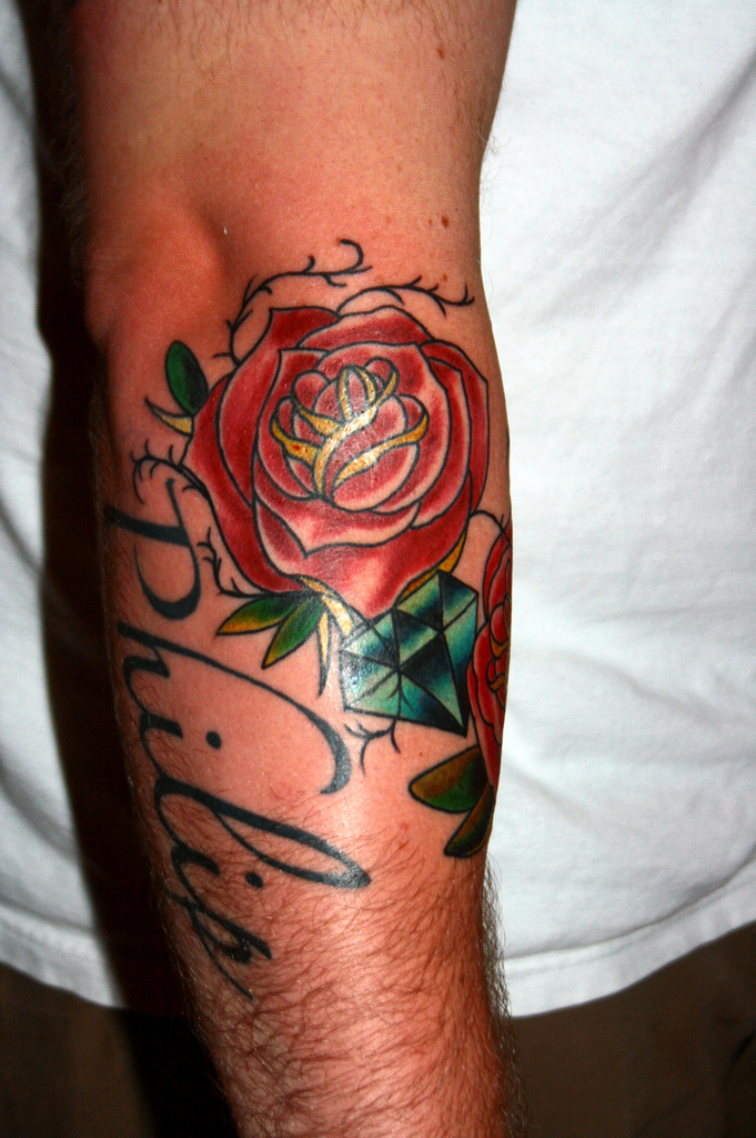 Red rose tattoo on man right arm for Right arm tattoos