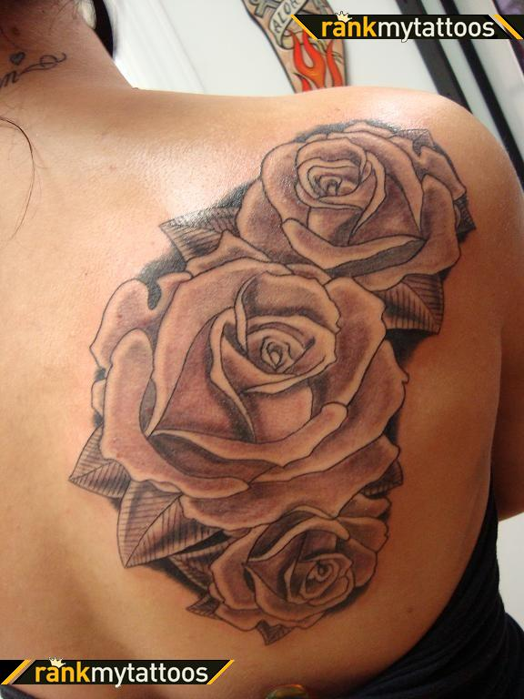 Right back shoulder grey rose tattoos for Rose tattoo on back shoulder