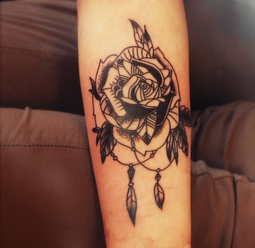 Rose tattoo on forearm for Forearm flower tattoos