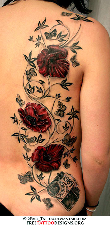 Rose Vine Thigh Tattoo