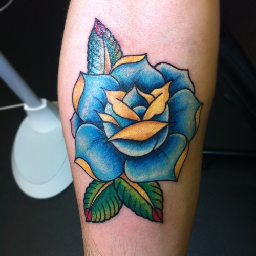 Rose Tattoos : Page 9 Traditional Blue Rose Tattoo