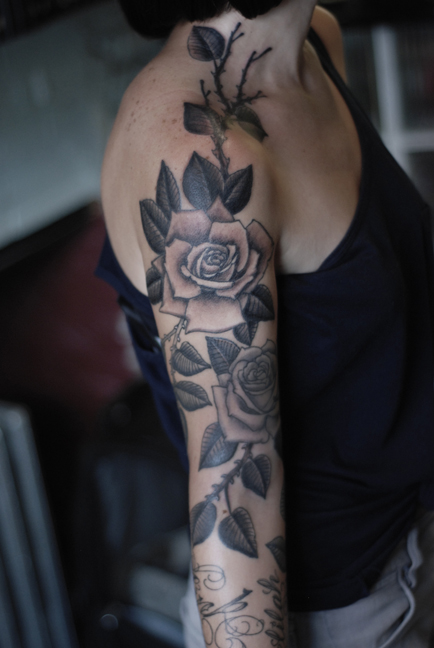 Rose tattoo images designs for Roses sleeve tattoos