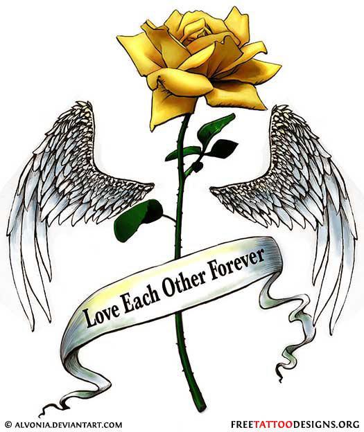 0d08b870c Winged Yellow Rose Tattoo Design
