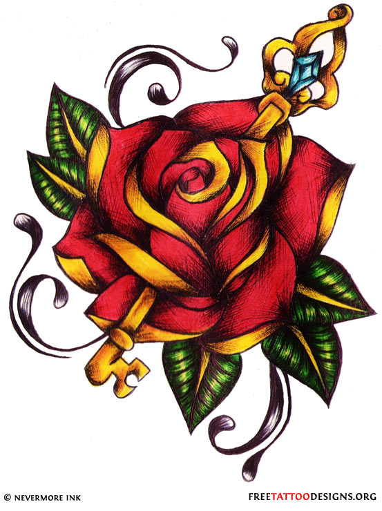 Yellow And Red Rose Tattoo Design