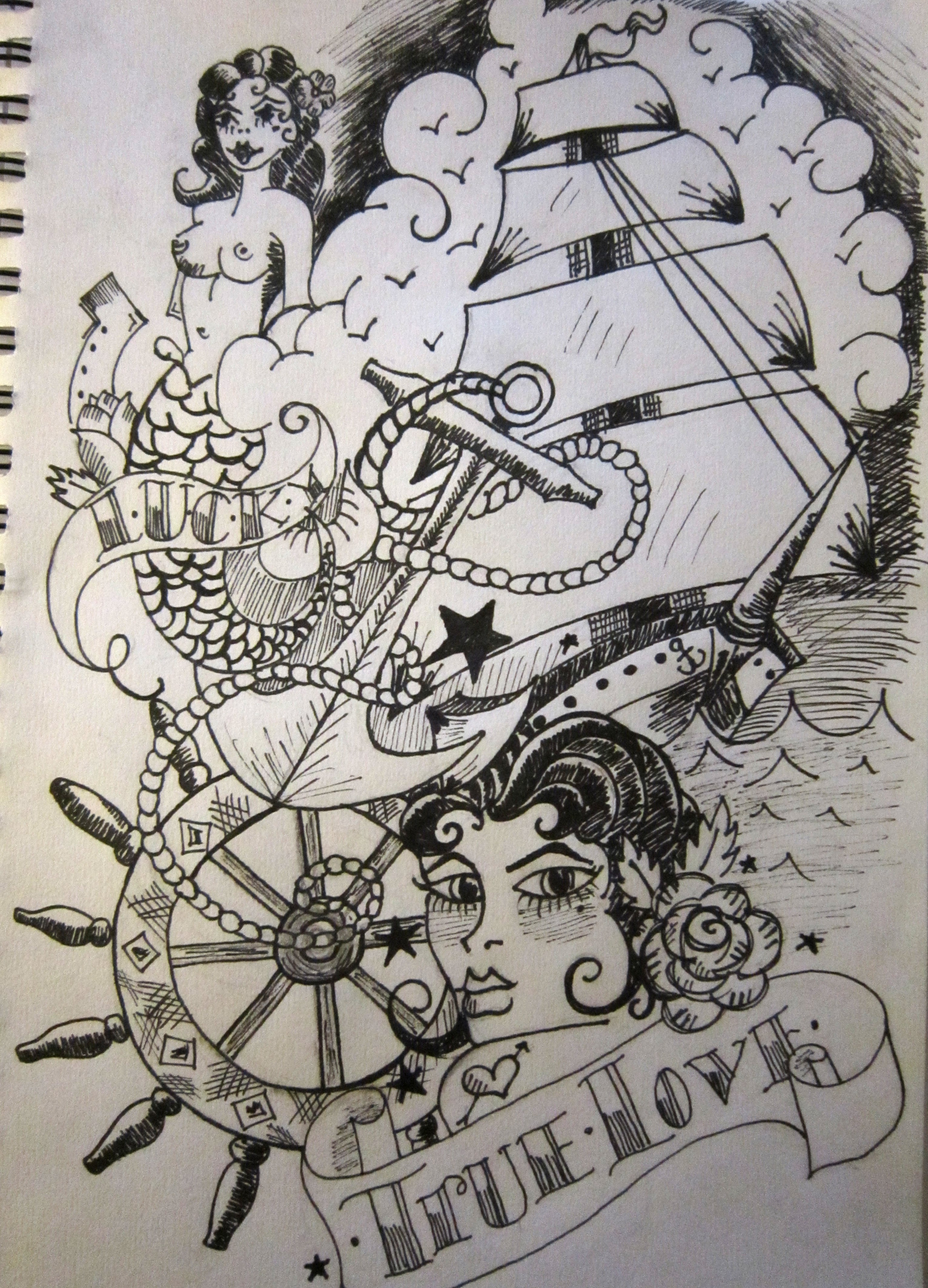 Banner And Navy Tattoos Design
