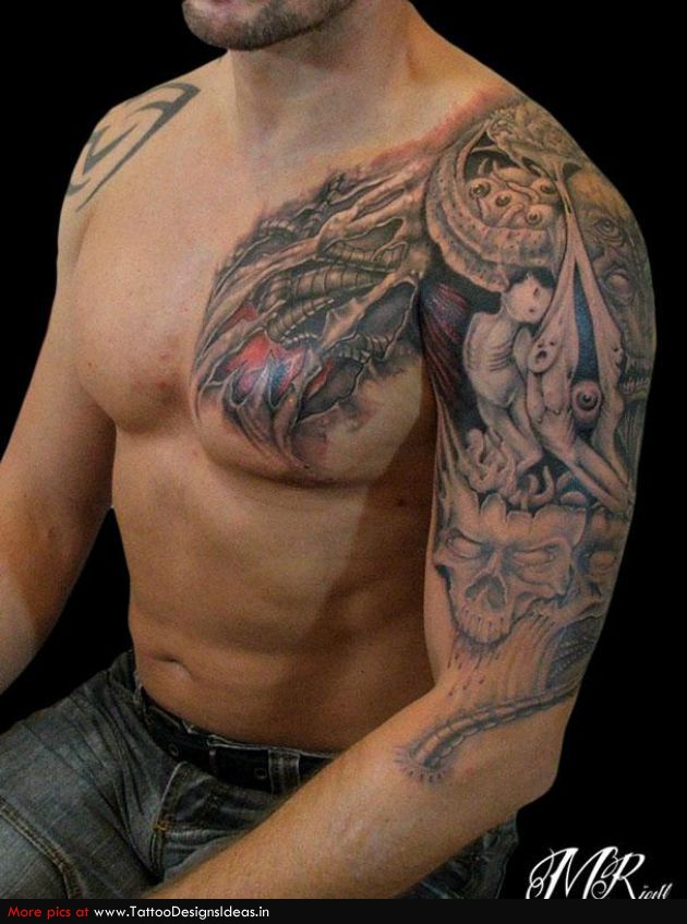 Biomechanical skull tattoo on chest and left half sleeve for Chest and sleeve tattoo