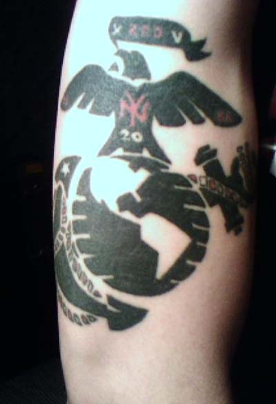 Black ink navy tattoo on half sleeve for Usmc sleeve tattoo ideas
