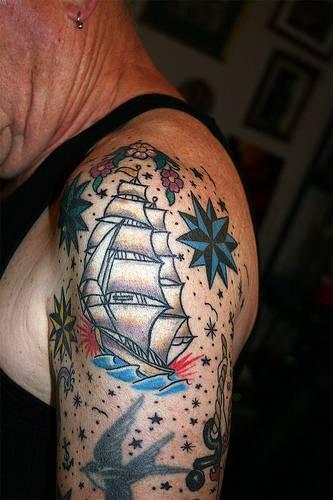old school grey ink navy ship tattoo on left half sleeve. Black Bedroom Furniture Sets. Home Design Ideas