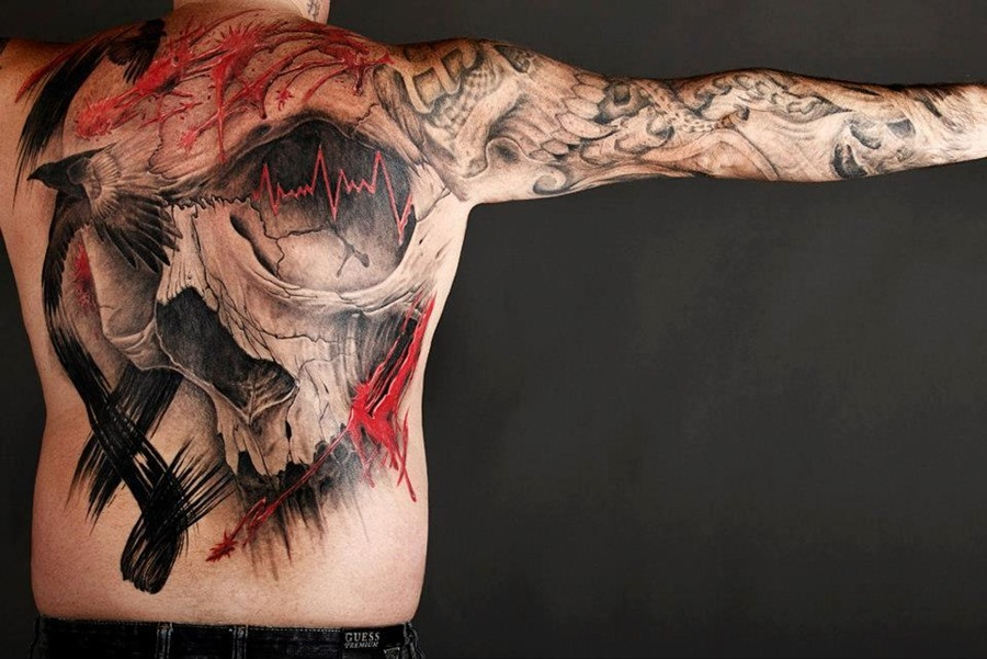 Large Skull Tattoo On Man Back