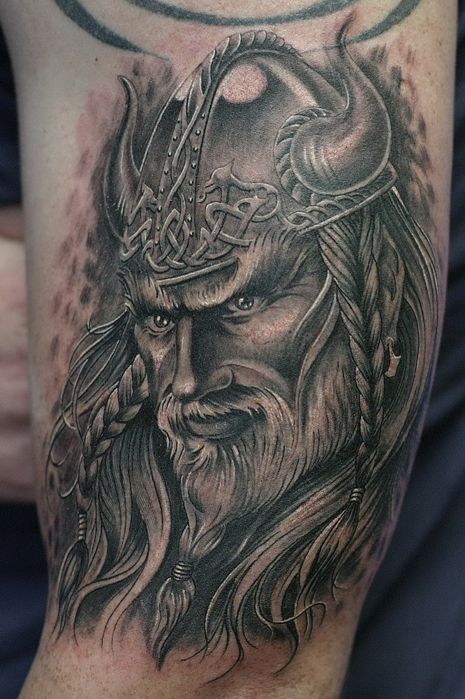 Attractive Grey Ink Viking Tattoo On Man Chest