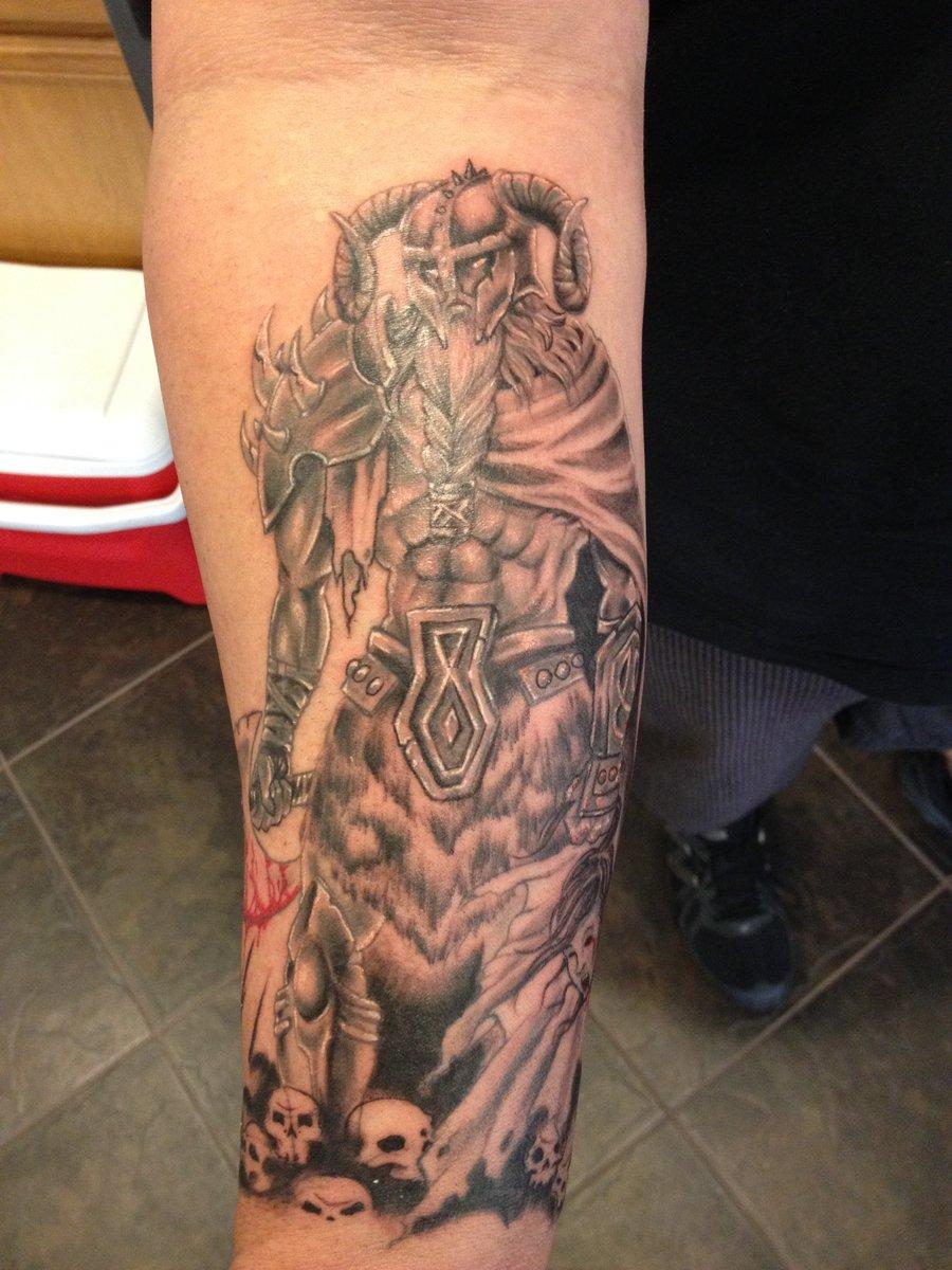 78c9a4f57 Awsome Grey Ink Viking Tattoo On Right Arm