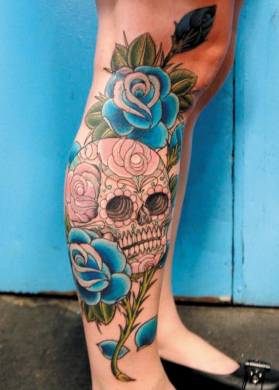 707261c7d Blue Rose Flowers And Sugar Skull Tattoo On Right Leg