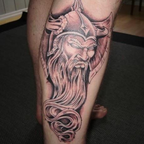 Classic Grey Ink Viking Tattoo On Right Leg